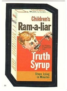 "1986 WACKY PACKAGES ALBUM SERIES STICKER ""RAM-A-LIAR"" #51 ONLY 99 CENTS"