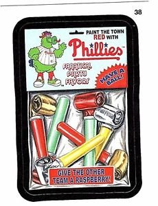"2016 WACKY PACKAGES BASEBALL SERIES 1 ""PHILLIES PARTY FAVORS"" #38 STICKER CARD"
