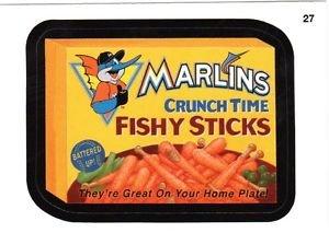 "2016 WACKY PACKAGES BASEBALL SERIES 1 ""MARLINS FISHY STICKS"" #27 STICKER CARD"