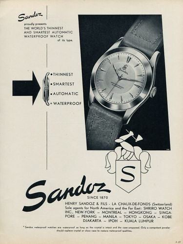 1953 Sandoz Watch Company Vintage 1953 Swiss Ad Switzerland Suisse Advert Horlogerie
