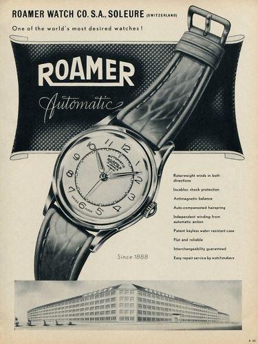 1953 Roamer Watch Company Soleure Switzerland Vintage 1953 Swiss Ad Suisse Advert