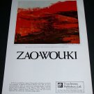 1969 Zao-Wou-Ki Red Composition Advert Vintage 1969 Art Ad Advertisement