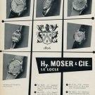 1953 Hy. Moser & Cie Watch Company Le Locle Switzerland Vintage 1953 Swiss Ad Suisse Advert