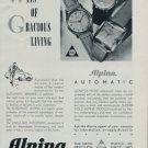 Alpina Watch Company Alpina Union Horlogere 1951 Swiss Ad Suisse Horlogerie