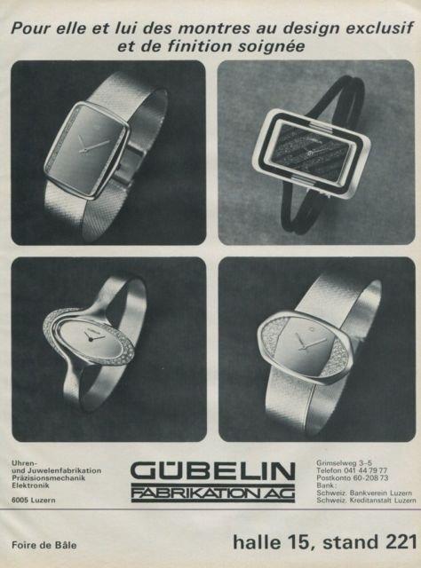 Gubelin Watch Company Vintage 1976 Swiss Ad Suisse Advert Horlogerie Horology