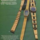 Munnier Freres SA Company France 1976 Swiss Ad Advert Horlogerie Horology