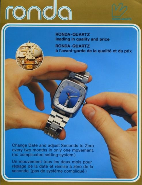 Ronda-Quartz Watch Company Switzerland Vintage 1976 Swiss Ad Suisse Advert