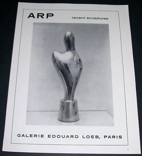 Arp Vintage 1965 Paris Art Exhibition Ad Galerie Edouard Loeb, Paris