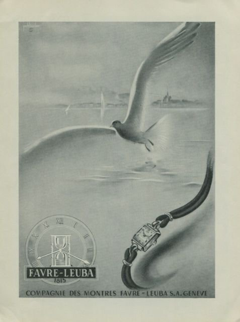 1949 Favre-Leuba Watch Company Switzerland Vintage 1949 Swiss Ad Suisse Advert