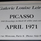 Pablo Picasso Vintage 1971 Paris Art Exhibition Ad Advert Galerie Louise Leiris