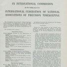 1950 International Federation of Precision Timekeeping 1950 Swiss Magazine Article