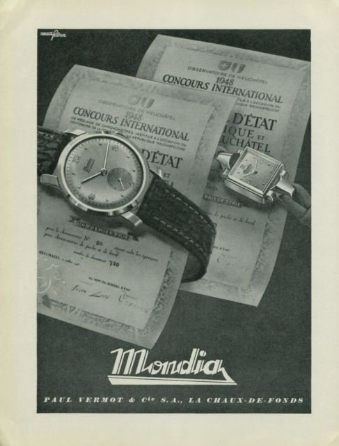 1949 Mondia Watch Company Switzerland Paul Vermot & Cie Vintage 1949 Swiss Ad Suisse Advert