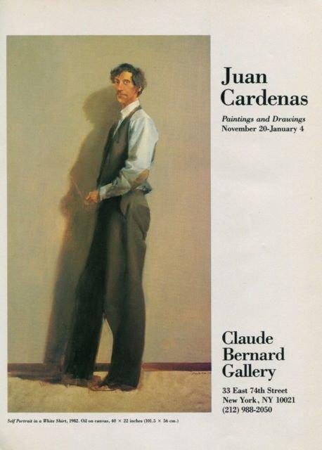 1985 Juan Cardenas Self-Portrait in a White Shirt 1985 Art Exhibition Ad Claude Bernard Gallery