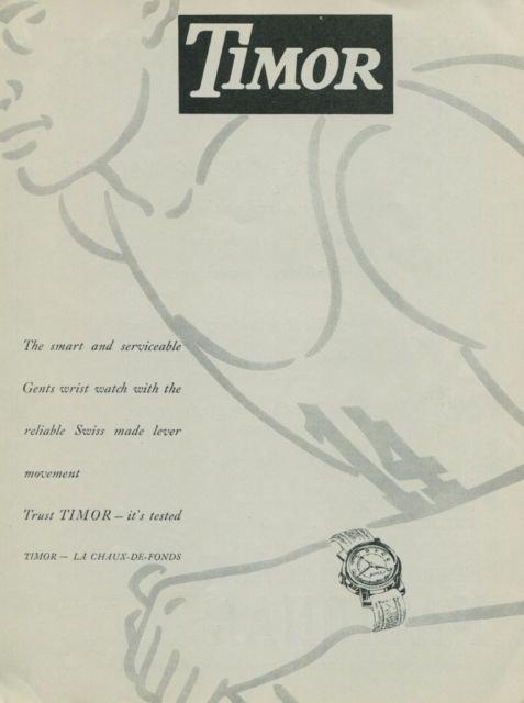 1949 Timor Watch Company Switzerland Vintage 1949 Swiss Ad Suisse Advert Horlogerie Horology