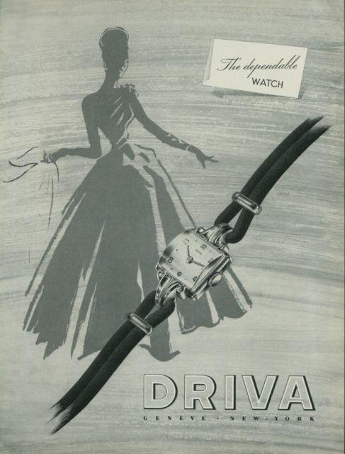 1949 Driva Watch Company Geneva Switzerland Vintage 1949 Swiss Ad Suisse Advert