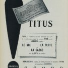 1956 Titus Watch Company Lloyds de Londres 1956 Swiss Ad Lloyd's of London Suisse Advert Horlogerie