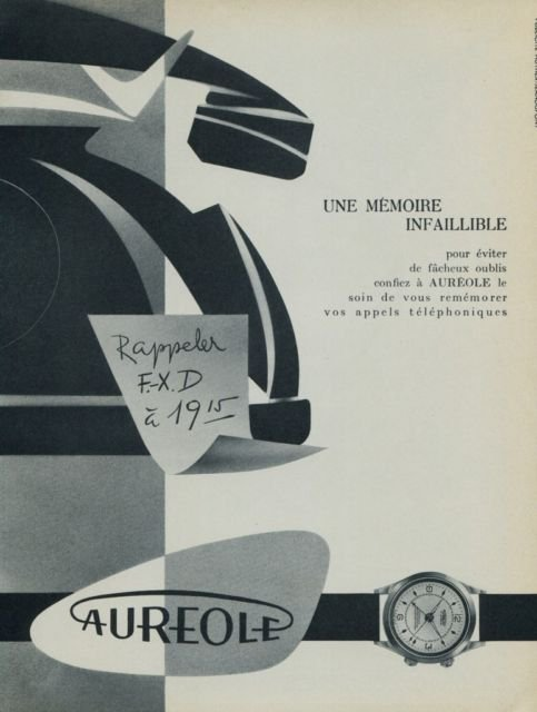 Aureole Watch Company Switzerland Vintage 1956 Swiss Ad Suisse Horology Advert