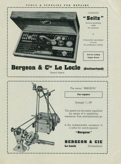 Bergeon & Cie Le Locle Switzerland 1949 Swiss Ad Suisse Advert Horlogerie Horology