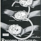 Vintage 1949 Record Watch Company Geneva Switzerland Swiss Print Ad Suisse Publicite Montres Schweiz