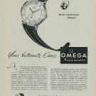 Vintage 1949 Omega Watch Co Your Automatic Choice Swiss Print Ad Suisse Publicite Montres Schweiz