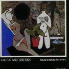 Husaiu 1980 Art Exhibition Ad Publicite Advert Cactus and the Fish Galerie Jourdan, Montreal