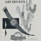 1956 Mondia Watch Company La Chaux-de-Fonds Switzerland Swiss Print Ad Suisse Publicite Montres