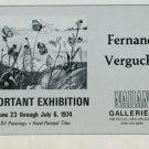 1974 Fernand Vergucht Vintage 1974 Art Exhibition Ad Nahan Galleries, New Orleans Publicite Advert