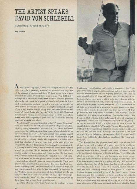 1968 David Von Schlegell The Artist Speaks by Jay Jacobs Vintage 1968 Art Magazine Article
