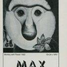 Max Ernst Monkey with Flower 1974 Art Exhibition Ad Publicite Galerie Beyeler Basel Switzerland