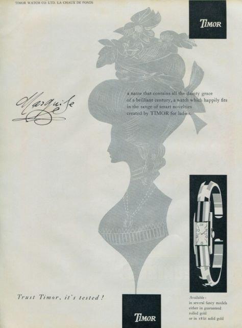 1957 Timor Watch Company La Chaux-de-Fonds Switzerland Swiss Print Ad Suisse Publicite Montres