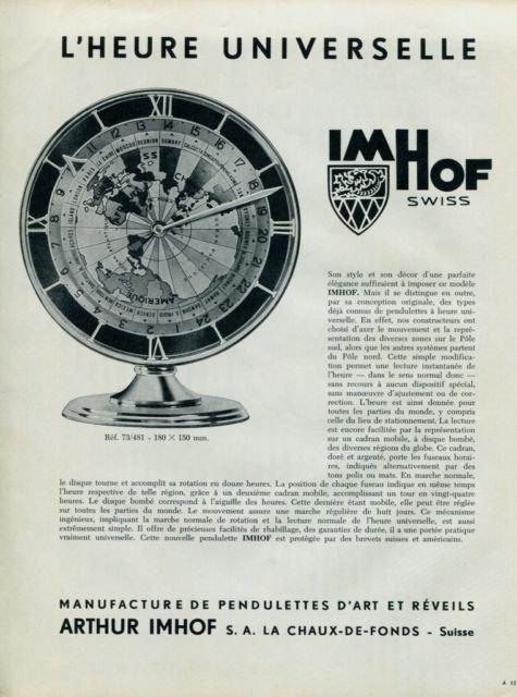 Imhof Clock Company 1957 Swiss Print Ad Suisse Publicite L'Heure Universelle Arthur Imhof S.A.