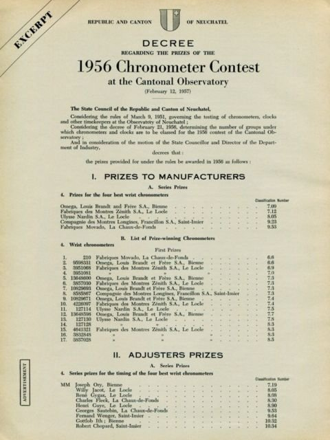1957 Omega Watch Co Chronometer Contest Cantonal Observatory Swiss Print Ad Publicite Suisse