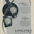 1957 Longines Conquest Calendar Watch Advert 1950s Swiss Print Ad Publicite Suisse Montres