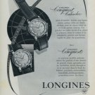 Vintage 1957 Longines Conquest Watch Advert Swiss Print Ad Publicite Suisse Montres (French Text)