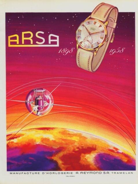 Arsa Watch Company 60 Year Anniversary 1958 Swiss Ad Suisse Horlogerie Advert