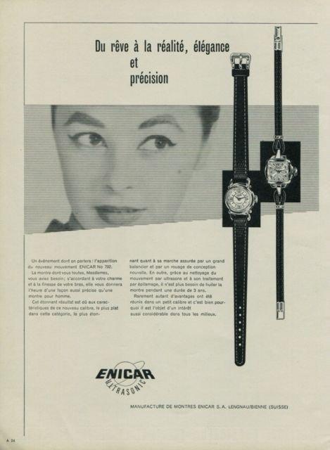 Enicar Watch Company Ultrasonic Vintage 1956 Swiss Ad Suisse Advert Horology