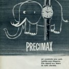 1963 Precimax Watch Company Switzerland Vintage 1963 Swiss Ad Suisse Advert (Elephant)