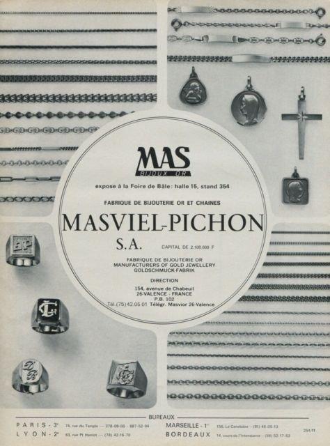 1975 Jeweler Masviel-Pichon S.A. Company Valence France 1975 Swiss Ad Suisse Advert