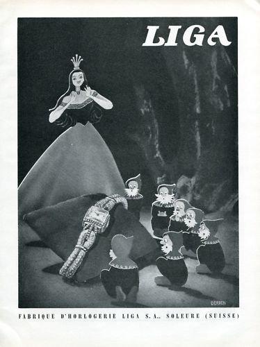 1946 Liga Watch Company Snow White & the Seven Dwarfs Switzerland 1946 Swiss Ad Suisse Advert