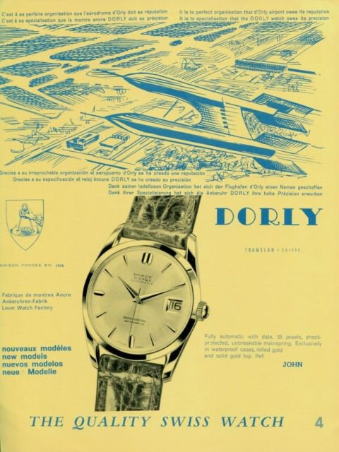 Dorly Watch Company Switzerland d'Orly Vintage 1960 Swiss Ad Suisse Advert