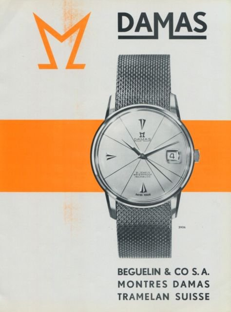Damas Watch Company Beguelin & Co S.A. 1960 Swiss Ad Suisse Advert Horlogerie