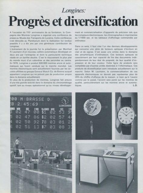1977 Longines Watch Company Progres et Diversification 1977 Swiss Magazine Article Horlogerie