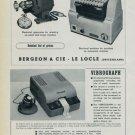 Reno S.A. Vibrograf Advert Bergeon & Cie 1951 Swiss Ad Suisse Horlogerie Advert
