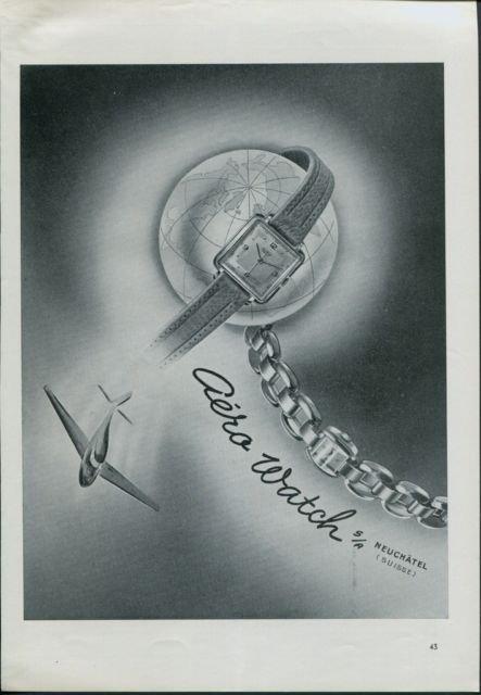 Aero Watch Company Neuchatel Vintage 1947 Swiss Ad Suisse Advert Horlogerie