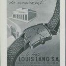 Louis Lang S.A. Porrentruy 1947 Swiss Ad Suisse Advert Horlogerie Horology