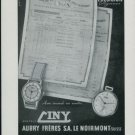 1947 Ciny Watch Company Aubry Freres S.A. Vintage 1947 Swiss Ad Suisse Advert