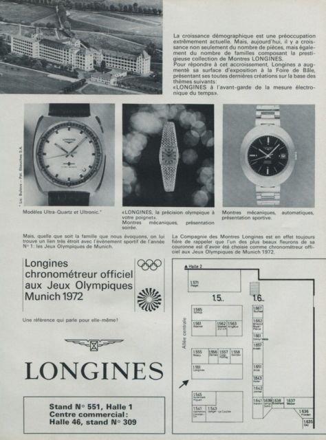 1972 Longines Watch Company Olympics Foire de Bale Vintage 1972 Swiss Ad Suisse Advert Horlogerie