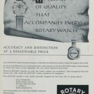 1956 Rotary Watch Company Switzerland Vintage 1956 Swiss Ad Suisse Advert Horology