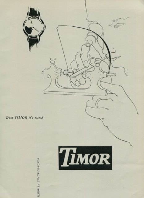 1950 Timor Watch Company Switzerland Vintage 1950 Swiss Ad Suisse Advert Horology