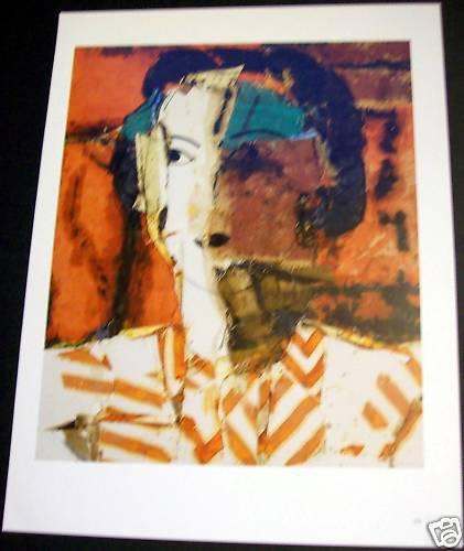 Manolo Valdes Retrato con Rayas Ocres Art Ad Advertisement